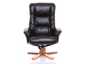 Shanghai Black Leather Swivel Recliner Chair+ Footstool