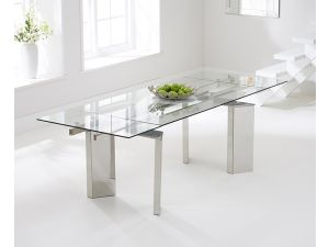 Millicent 160 cm Glass Extending Dining Table