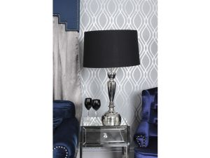 Civita Nickle Table Lamp With Black Shade