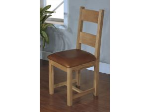 Rustic Oak Dining Chair with Leather Pad
