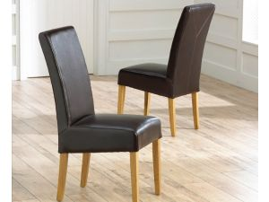 Rustique Dark PU Leather Dining Chair X 2