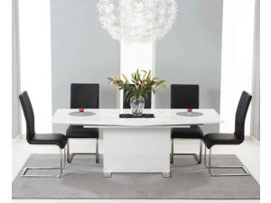 Marila 150cm White High Gloss Extending Dining Table With 6 Malibu Black Chairs