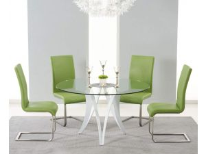 Bellevue 130cm Round Glass Dining Table With 4 Malibu Green Leather Chairs