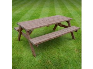 Rutland Oakham 6ft Rustic Brown Picnic Bench