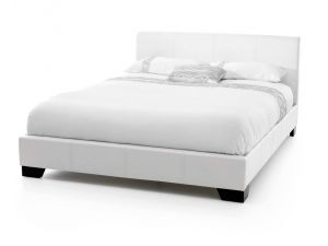Serene Parma 4ft6 Double White Leather Bed