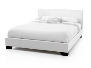 Serene Parma 4ft Small Double White Leather Bed