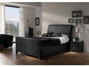 Kaydian Allendale 6ft Super Kingsize Black Madras Leather Ottoman Bed