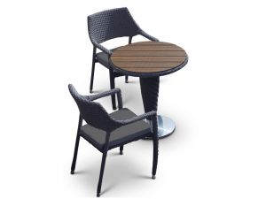 Oasis Curved 2 Seat Rattan Dining Set With Dark Grey Cushions