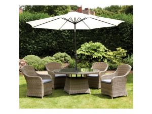 Royalcraft Wentworth 4 Seat Rattan Round Dining Set With Imperial Chairs