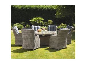 Royalcraft Wentworth 6 Seater Rattan Round Dining Table With Highback Comfort Chairs