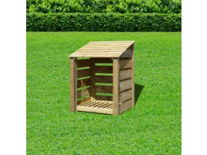 Rutland Burley 4ft Light Green Slatted With Reverse Roof Wooden Log Store
