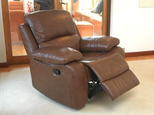 Primo 1 Seater Old Saddle Brown Leather Recliner Chair