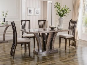 Amalfi 180cm Pearl Grey Marble Dining Table With 6 Elgin Chairs