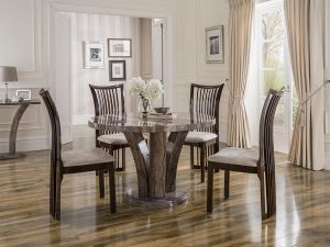 Amalfi 125cm Round Pearl Grey Marble Dining Table With 4 Marco Chairs