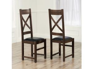 Canterbury Solid Oak Dining Chairs With Brown Leather Seat - Pair