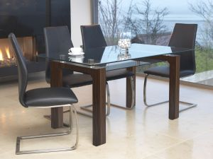 Maya 150cm Walnut Tempered Glass Dining Table & 6 Irma Chairs