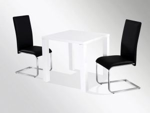 Neos White High Gloss 80cm Small Square Dining Table