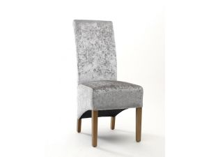 Shankar Krista Crushed Velvet Silver Fabric Dining Chair