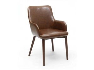 Shankar Sidcup Vintage Leather Match Brown Leather Dining Chair