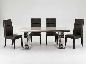 Arianna Cream Marble Dining Table With 6 Accorso Chairs