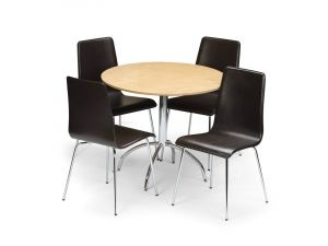 Julian Bowen Mandy Maple Veneer Dining Table and 4 Black Leather Chairs