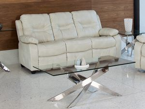 Kennedy 3 Seater Nappa Ivory Leather Fixed Sofa