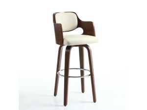 Shankar Novita Cream Leather Bar Stool