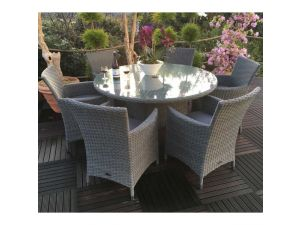 Royalcraft Madison 6 Seater Round Rattan Dining Set With Carver Chairs