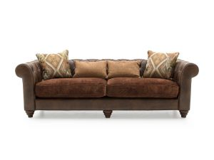Tamworth Brown Leather 2 Seater Sofa With 3 Scatter Cushions