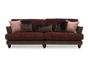 Hyde Claret 3 Seater Fabric Sofa With 4 Scatter Cushions