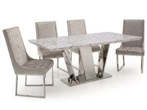 Olena 160cm White Marble Table + 6 Chairs