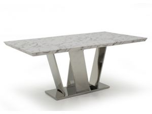 Olena 160cm Off White Marble Dining Table
