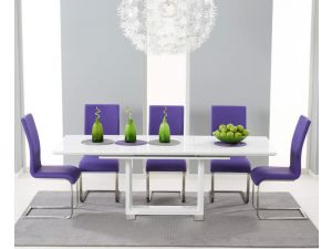 Beckley 160cm White High Gloss Dining Table With 6 Malibu Purple Leather Chairs