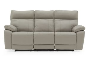 Positano Light Grey Leather 3 Seater Recliner Sofa