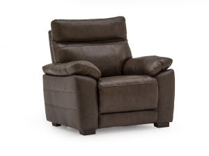 Positano Brown Leather 1 Seater Fixed Armchair