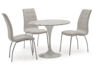 Ida 90cm Round White Marble Table + 2 Nina White Chairs