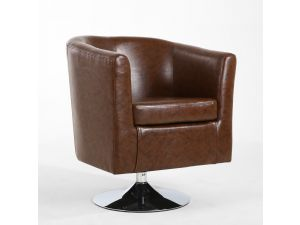 Shankar Antique Brown Vintage Leather Match Swivel Base Tub Chair