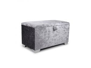 Shankar Plain 3ft Steel Crushed Velvet Ottoman