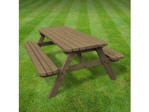 Rutland Oakham 3ft Rustic Brown Rounded Picnic Bench
