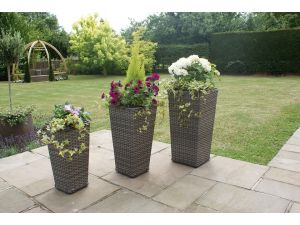 Maze Set of 3 Victoria Shaped Rattan Planters - Grey