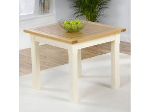 Windsor Solid Pine Painted Cream Dining Table With a Ash Top Square
