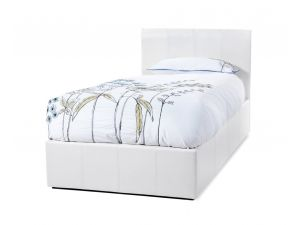 Serene Tuscany 3ft Single White Faux Leather Ottoman Bed