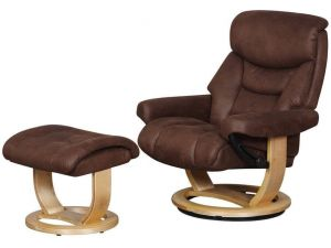 Senator Brown Fabric Recliner Chair With Footstool