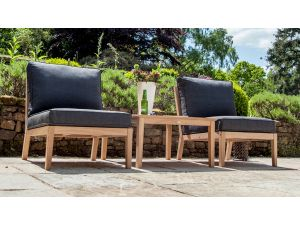 Alexander Rose Roble 3pc Wooden Lounge Companion Set with Side Table