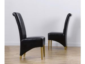 Barcelona Black Leather Dining Chairs With Solid Oak Legs - Pair