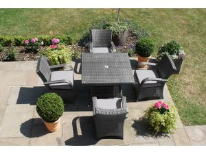 Maze Texas 4 Seat Square Rattan Dining Set - Grey