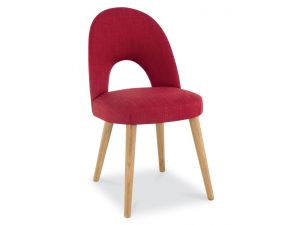 Bentley Designs Oslo Oak Red Fabric Upholstered Chairs Pair