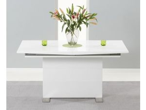 Marila 150cm White High Gloss Extending Dining Table
