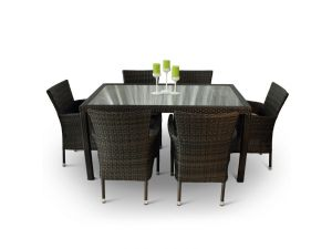 Rectangular 6 Seater Rattan Dining Set With Inlaid Glass Top