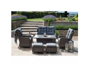 Pacific St Kitts 8pc Charcoal Rattan Sofa Dining Set with Footstools and Side Tables